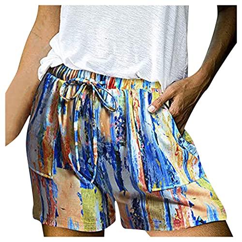 Ghemdilmn Pantalones cortos de deporte para mujer, cómodos, holgados, informales, con cintura alta, transpirables, ligeros, elásticos, de tela, naranja, M