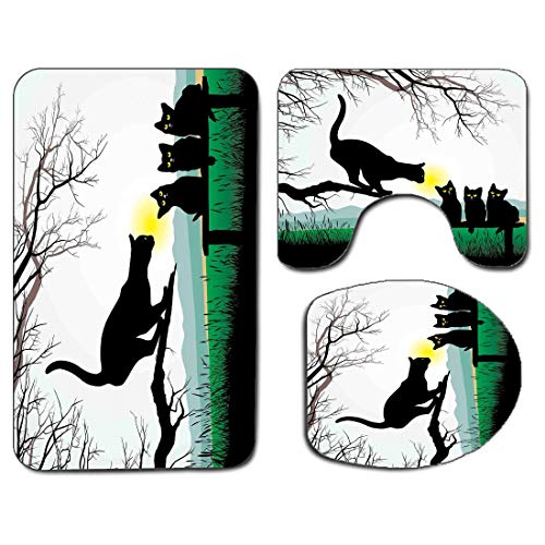 3Pcs Non-Slip Bathroom Rug Toilet Seat Lid Cover Set Cat Soft Skidproof Bath Mat Mother Cat on Tree Branch and Baby Kittens in Park Best Friends I Love My Kitty Graphic,Multi Absorbent Doormat Bedroom