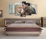 KOPASD Cuadros Modernos Impresión De Imagen Artística Digitalizada | Lienzo Decorativo para Tu Salón O Dormitorio | Daenerys Targaryen & Jon Snow Got | 5 Piezas 150X80Cm