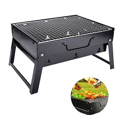Grill BBQ Holzkohlegrill, BBQ Barbecue Grill Zusammenklappbare Holzkohle Outdoor Camping Patio Herd Raucher, Holzkohle Grill für 3-5 Personen, Reise Picknick Grill Shish Kabob Herd, 35x27x20 cm
