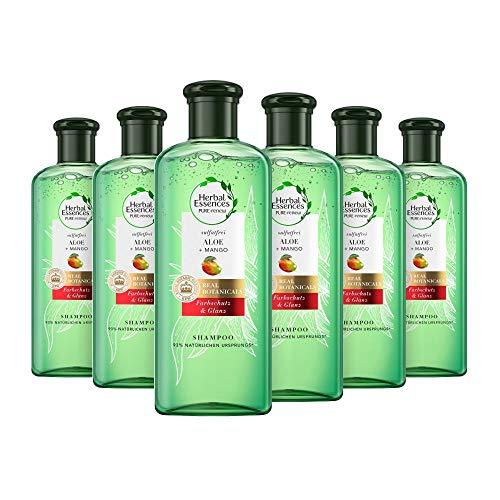 Herbal Essences PURE:renew Farbschutz & Glanz Shampoo Mit Aloe + Mango, 6er Pack (6 x 225 ml), Shampoo Damen, Aloe Vera Haare, Haarpflege Glanz, Ohne Silikon, Ohne Sulfate, Mango Haare