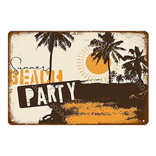 Preisvergleich Produktbild Metallschilder Vintage Wanddekor Retro Hallo Sommer Ocean Beach Poster Landschaft Plaque Art Decor Party-P009_20X30Cm