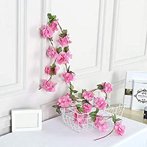 5 Pcs Cherry Blossoms Vine Simulation Vines with Cherry Blossoms, 90″ Long Vine with Pink Blossoms, Artificial Flowers Vine for Decoration, Wedding Decor, Fence Decoration Garland Decoration