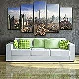 QIXINGFU Pintura En Lienzo Art - Skyline De Dubai con Arquitectura - 5 Piezas De Impresión No Tejida Imagen Artística Decoración De La Pared 150X80 Cm Regalo del Día De La Madre