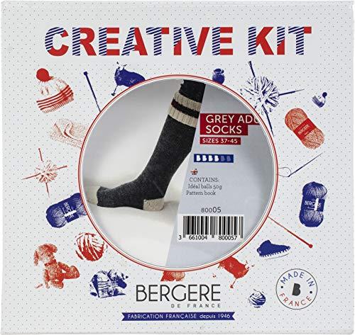BERGERE DE FRANCE (3PL) 80005 Set, ideales Garn, Grau, Off-White & Red, Einheitsgröße