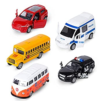 KIDAMI Die-cast Metal Toy Cars Set of 5 Openable Doors Pull Back Car Gift Pack for Kids  Official Car