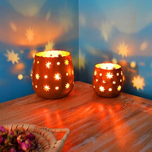 2er Set Orientalisches Windlicht Laterne orientalisch Javier Groß   Orientalische Vintage Teelichthalter Rostfarben innen Rostbraun außen   Marokkanische Windlichter aus Metall als Dekoration