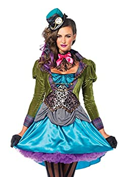 Leg Avenue 3 Piece Deluxe Mad Hatter Set-Sexy Velvet Coat Dress and Mini Top Hat Halloween Costume for Women Multi Small