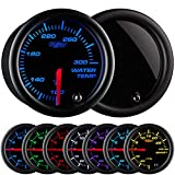 GlowShift Tinted 7 Color 300 F Water Coolant Temperature Gauge Kit - Includes Electronic Sensor - Black Dial - Smoked Lens - For Car & Truck - 2-1/16'