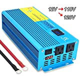 IpowerBingo 1200W Pure Sine Wave Power Inverter 12V DC to 110 V AC with 2 AC Outlets 2 Battery Cables with LCD Display Car Boat Inverter
