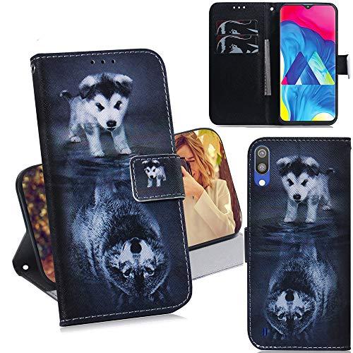 DodoBuy Samsung Galaxy A10/M10 Hülle Flip PU Leder Schutzhülle Handy Tasche Hülle Cover Wallet Standfunktion mit Kartenfächer Magnetverschluss für Samsung Galaxy A10/M10 - H& Wolf