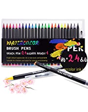 WaterColour Brush Pens, 24 Colours for Watercolour Painting with Flexible Nylon Brush Tips, Paint Markers for Colouring with 1 Refillable Bleding Brush for Adult Colouring Books/Calligraphy