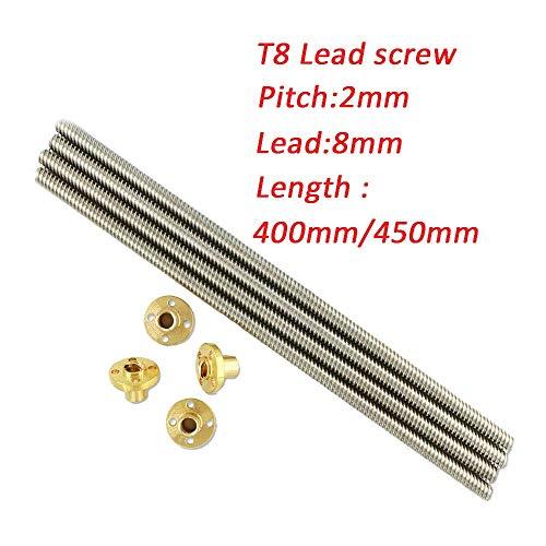 4PCS / Lot 3D-printer Delen T8 Schroef 8mm Leischroef 400mm Of 450mm, Met Brass Nut 4 Start Z-as Linear Rail Shaft (Size : 400MM)