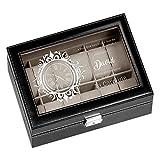 Maverton Boîte à Montres avec vitrine Gravée, Étui pour 12 Montres à Personnaliser, Boîte de Rangement – Cadeau Personnalisé pour hommes - horloge