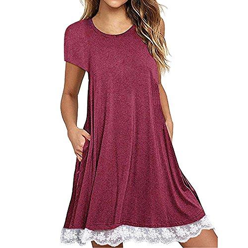 IZHH Damen Kleider Frauen O-Ansatz beiläufiger Spitze-Rand-Normallack-Kurzschluss-Hülse über Knie-Kleid-lose Partei-Kleid-Spitze-Beutel-Hüfte-Kleid-Pullover