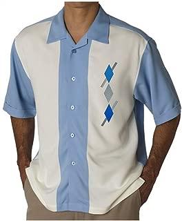 Mens Camp Shirt, Vintage Cuban Style Bowling Shirt Vodka