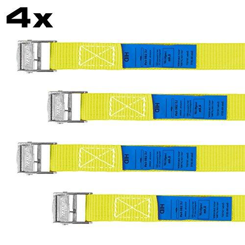 Spanngurt 40 cm, Gurt, Transportsicherung, Sicherungsgurt, Transport, Spanngurte, Ladungsicherung, 4 Stück im Set, gelb, RACEFOXX