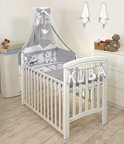 Pro Cosmo 10 Piezas Juego de Ropa de Cama para Cuna bebé/Edredón, Dosel, Protector (120x60cm, Grey Teddies)