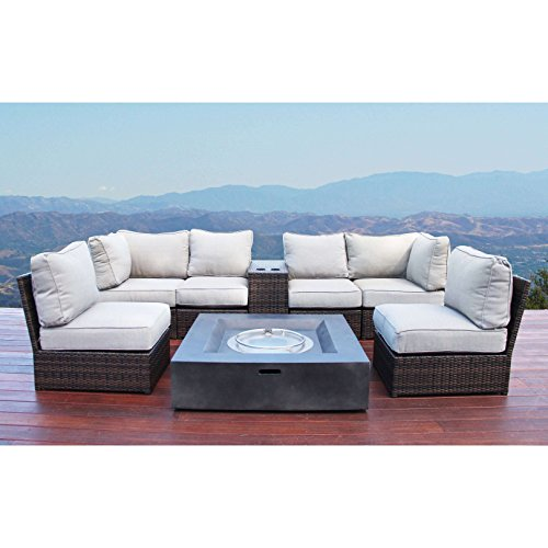 Living Source International Lucca Wicker 8-Piece Fire Pit Lounge Set (Brown)