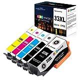 GPC Image 33XL Cartouches d'encre Compatible pour Epson 33XL(1 Noir, 1 Photo Noir, 1 Cyan, 1 Magenta, 1 Jaune) 5 Paquet pour Epson Expression Premium XP-640 XP-900 XP-630 XP-830 XP-645 XP-540