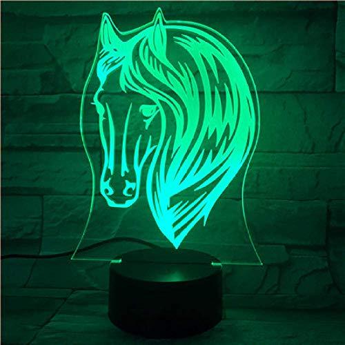 Lámpara de ilusión 3D Luz de noche LED Pony Horse 7 Cambio de color USB Acrílico Ambiente de hogar pequeño Mejor cumpleaños para niños Regalos de vacaciones Juguetes Regalos
