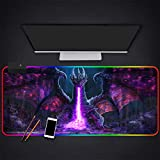 Mouse Pads Purple Spitfire Dragon Picture Hd Mouse Pad LED Backlight RGB Glowing Mouse Mat Desktop Mat for Gamer Gaming,27.6×11.8 Inches