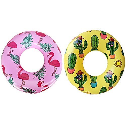 """Big summer Inflatable Pool Tubes 31.5""""(2 Pack), Flamingo Swimming Ring for Kids, Cactus Swim Tube, Funny Pool Party Toys for Children Teens \& Adults"""