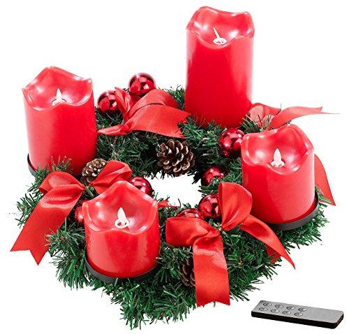 Britesta Adventskranz elektrisch: Adventskranz, rot, 4 rote LED-Kerzen mit bewegter Flamme (Adventsgesteck mit LED Kerzen)