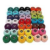 Hilo de algodón para ganchillo - 42 piezas Hilado de algodón - Colores del arco iris surtidos hilo de ganchillo 1995 Yardas en total - hilo de algodon para crochet para bordar, acolchado, manualidades