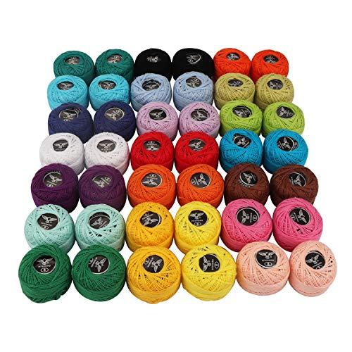 Kurtzy Häkelgarn 42 Stück - Sortierte Regenbogenfarben Baumwollgarn 1818 Meter insgesamt - Häkeln Garn für Stickerei Handwerk, Stricken Projekt, Quilten, Handgemachte Handwerk