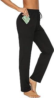 TARSE Womens Drawstring Sweatpants Stretch Straight Leg Yoga Workout Lounge Pants Pockets Trousers(Black,S)