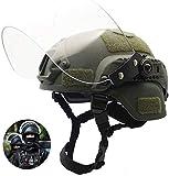 LEJUNJIE Casco táctico Mich 2000 Fast con Visera Transparente Riot Visor Gafas Protectoras deslizantes para Airsoft Paintball CS War Games Deportes al Aire Libre
