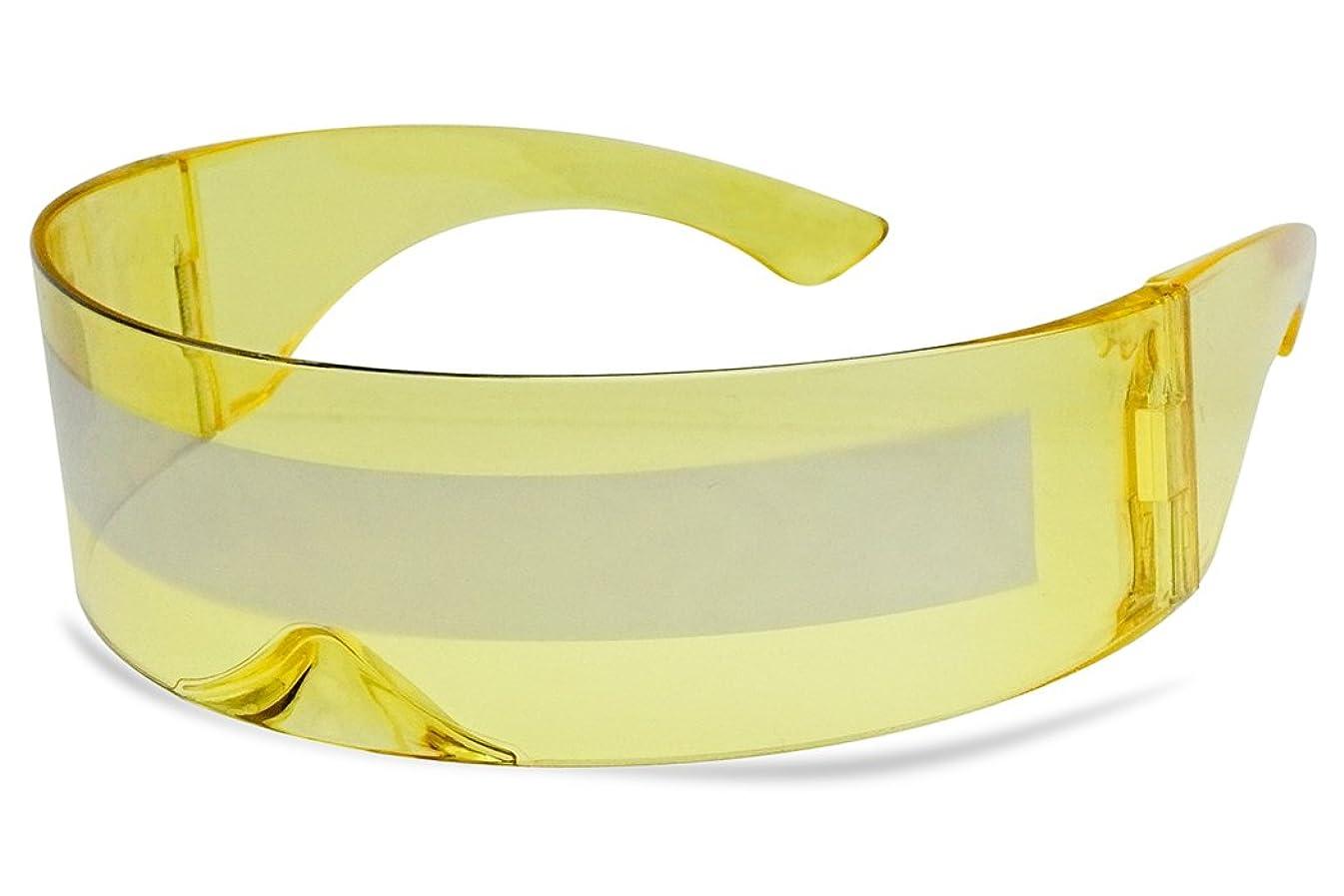 SunglassUP One Piece Futuristic Wrap Around Novelty Cyclops Robocop Sunglasses