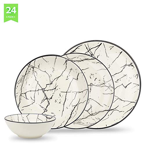 Geschirrset 24-teilig aus Porzellan für 6 Personen - tiefe Suppenteller, flache Essteller, Dessertteller und Schüsseln - Hochwertiges Vintage Tafelservice Kombiservice Marmor Optik weiß/schwarz