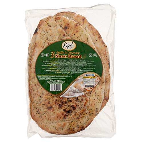 Regal Bakery Oven Baked Naan Bread 3Pcs – Garlic and Coriander Flatbread – Premium Quality Wheat Flour – Traditional Style Indian Pita