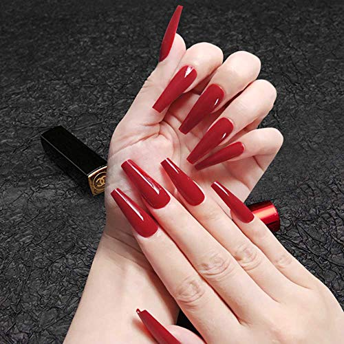 Poliphili 20Pcs Glossy Pure Color Super Long Press on Removable Wear Fake Nails Ballerina Coffin Extra Long Art Manicure Full Cover Acrylic False Nails Tips for Girls and Women (Wine Red)