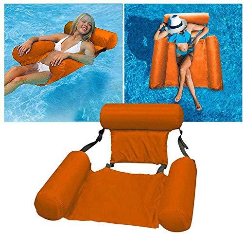 RHESHINE Cama hinchable para piscina 4 en 1, hamaca para el agua, para adultos y niños, color naranja