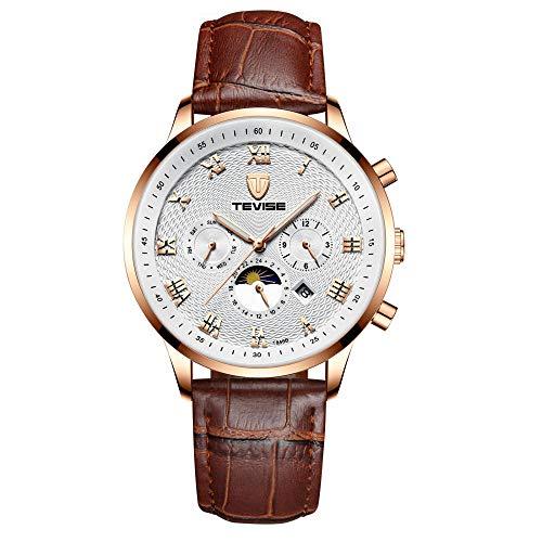 Horloges mannen Business Top Luxe Merk Automatische Mechanische Drie Ogen en Zes Naalden Polshorloge Riem Kalender Waterdichte Horloge, Wit