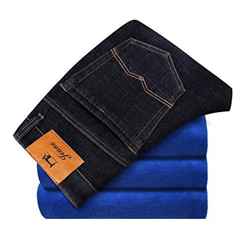 Mens Winter Blue Fleece Jeans Lined Stretch Denim Warm Jeans for Men (Model 1 Black,31)