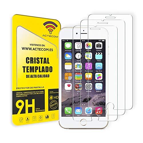 "ACTECOM Pack de 3 Protector de Pantalla Compatible con iPhone 6/7 / 8 / SE 2020 de 4,7"" Cristal Templado CASE FRIENDLY 9H 2.5D (3 uds.)"