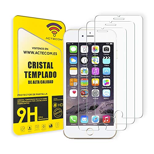 ACTECOM Pack de 3 Protector de Pantalla Compatible con iPhone 6 Plus / 7 Plus / 8 Plus de 5,5' Cristal Templado CASE FRIENDLY 9H 2.5D (3 uds.)