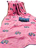 Techno World Women's Embroidered Chanderi Saree With Jacquard Blouse Piece. (Pink)