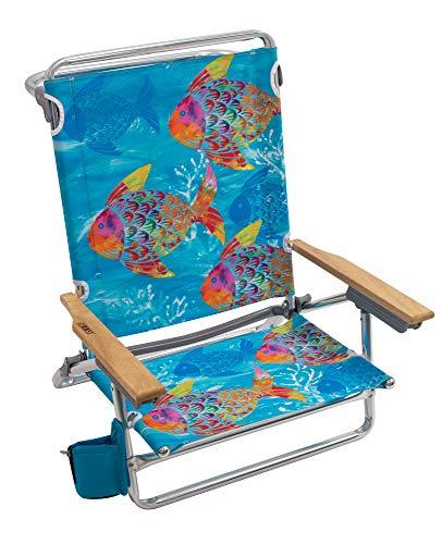 Rio Brands Beach Classic 5 Position Lay Flat Folding Beach Chair - Tropical Fusion Fish, 8.5