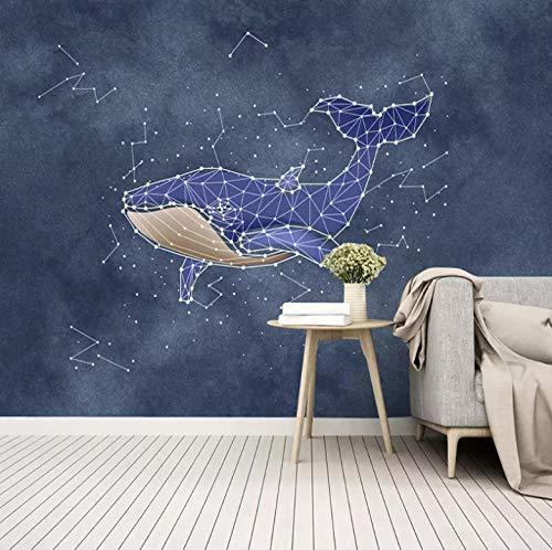 Fotobehang 3D behang modern reuze-afbeelding woonkamer slaapkamer tienerkamer decoratie, aquarel haai constellatie creatief 350x250cm