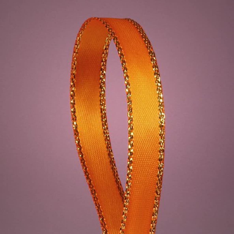 Orange Satin Ribbon with Gold Edges, 3/8