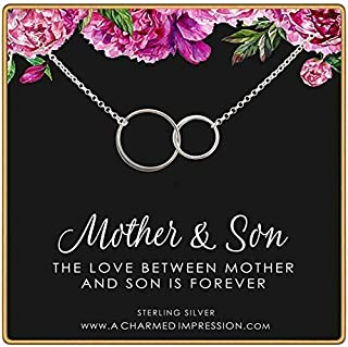 Gifts for Mom Jewelry • Mother and Son • Sterling Silver Necklace • Boy Mom Gift • Double Eternity Circle Necklace • Gratitude Appreciation • Mother of the Groom • Jewelry for Women