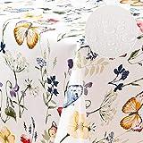 laro Wachstuch-Tischdecke Abwaschbar Garten-Tischdecke Wachstischdecke PVC Plastik-Tischdecken Eckig Meterware Wasserabweisend Abwischbar AQ, Größe:100-140 cm, Muster:Blumen, Schmetterling/bunt - 4