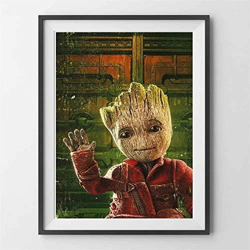 H/L Baby Groot Movie Character Canvas Art Painting Posters E Impresiones para La Sala De Estar Imagen De La Pared Decoración del Hogar 50X70Cm (Ti-2426)