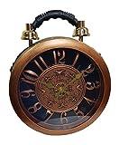 Einkaufszauber Designer Handtasche mit echter Uhr Schwarz-Kupfer