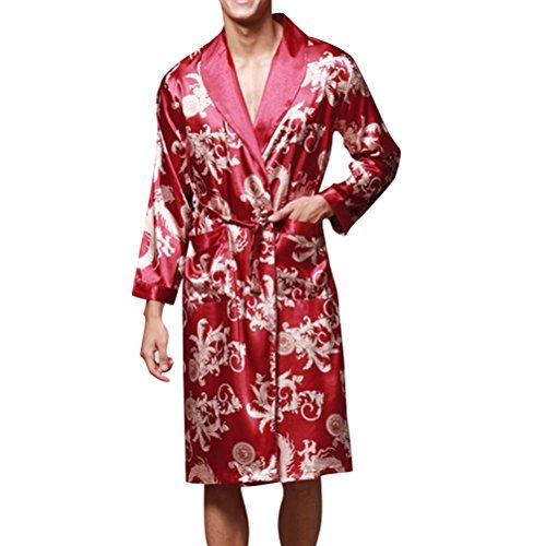 Herren Kimono Morgenmantel Satin Bademäntel Nachtwäsche mit Drache Muster Seidenrobe Lang Stil, Rot/Blau